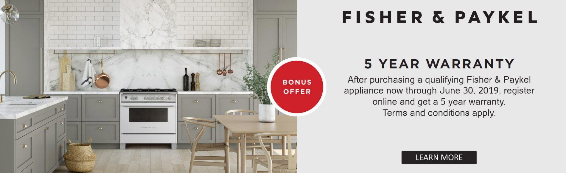 Fisher & Paykel 5 Year warranty